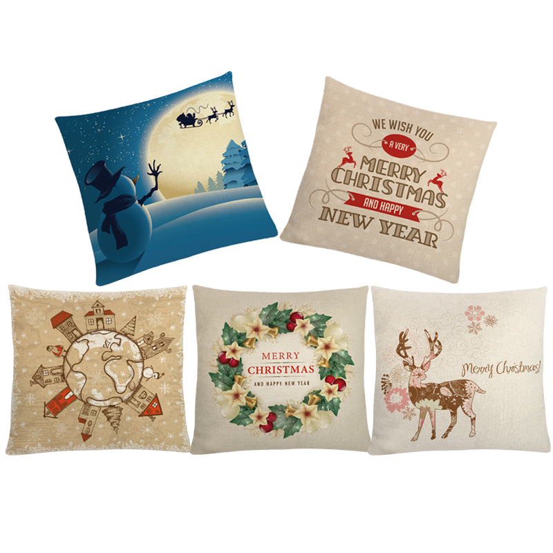 Cushion Covers Christmas Decorations For Home Cotton Linen Pillow cover Merry Christmas Pillow case 45*45cm