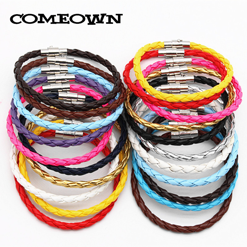 COMEOWN Newest 10Ppcs PU Braided Leather Bracelet Cord with Magnetic Clasp 4mm 16-25cm Mixed Colors DIY Men Jewelry Bracelets