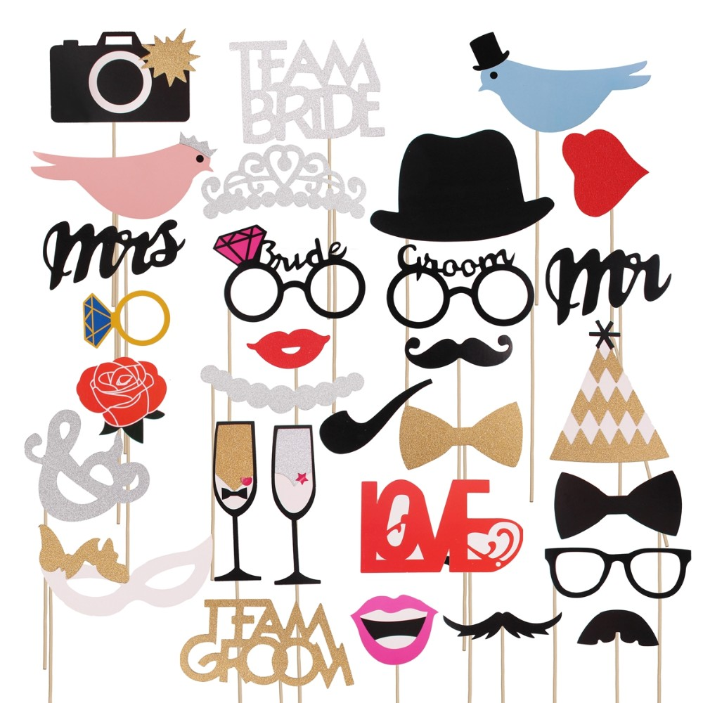 QIFU Mr Mrs Just Married Photobooth Wedding Props Bride To Be Wedding Decoration Funny Glasses Fake Mustache Photo Booth Props