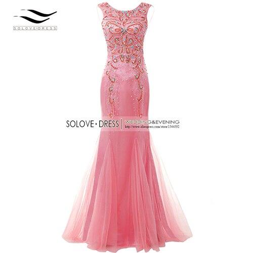 Элегантная ткань Накладка для кнопки рукав Кристалл бисером длинное платье выпускного вечера тюль русалка платье выпускного вечера Longo Vestido de festa(SLP-011 - Цвет: Coral