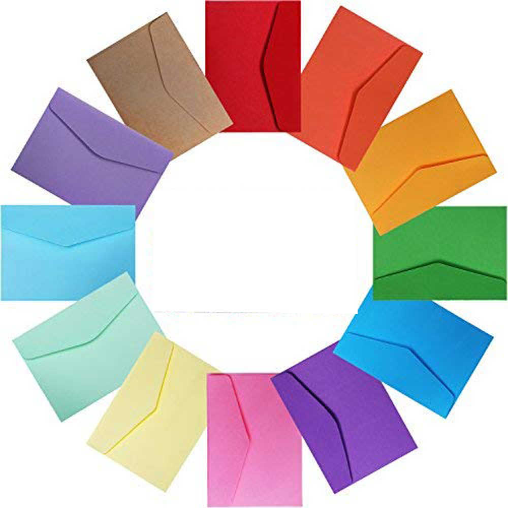 XRHYY 5PCS 14 Colors Small Envelopes For Weddings Christmas Party Thanksgiving Gift Cards Love Letters Supplies ( Random Color)