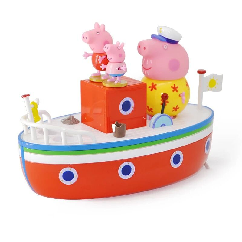 2018 new Arrival Peppa Pig Grandpa's Holiday Boat Floats On Water Playset Toy Set with grandpa Peppa George figure kids toy Gift