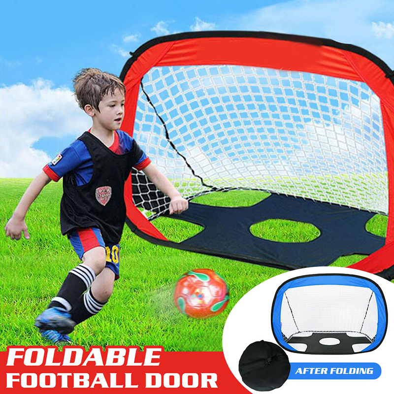 Folding Mini Football Soccer Ball Goal Post Net Set Kids Sport Indoor Home Outdoor Games Toys Big Grid Bule Red Football Net portable soft small mini outdoor golf throw and catch flying discs goal games for kids adults toys