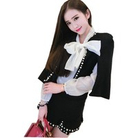 Small Fragrant Solid Two Piece Set Tweed Pearls Skirt Suit Beading 2019 Spring Women Casual Jacket Coat Skirt Set