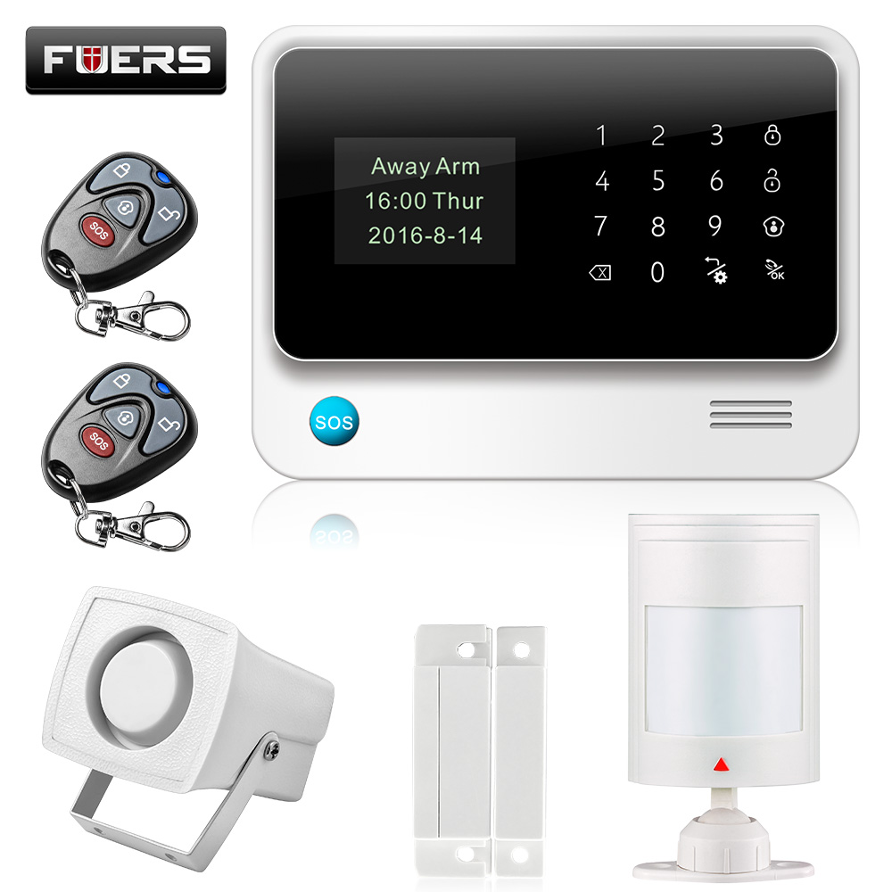 Fuers G90B Home Alarm Systems Touch App GSM Alarm System 2G Built-In Antenna Wired Security Alarm Kit For Apartment House fuers 2018 update g90b plus 2g 2 4g wifi gsm sms wireless home security alarm system ios android app remote control