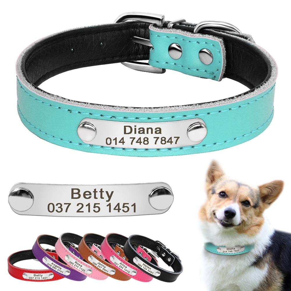 7 krāsas Ādas pielāgotie suņu kaklasiksnas Personalizēta kucēna kaķa nosaukuma plāksnes apkakle Regulējama lolojumdzīvnieka nosaukums Tālruņa ID apkakle iegravēts XS S M