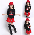 Girl Tshirt and Dress 2015 Autumn Korean Children Skirt Suit Flower Girl skirt 2 Piece Suit Casual Kids Skirt suit