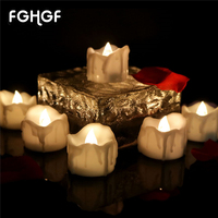 12pcs Warm White Flickering Timing Function Flameless LED Tea Lights Candles Party Decoration Wedding Warm White Flickering