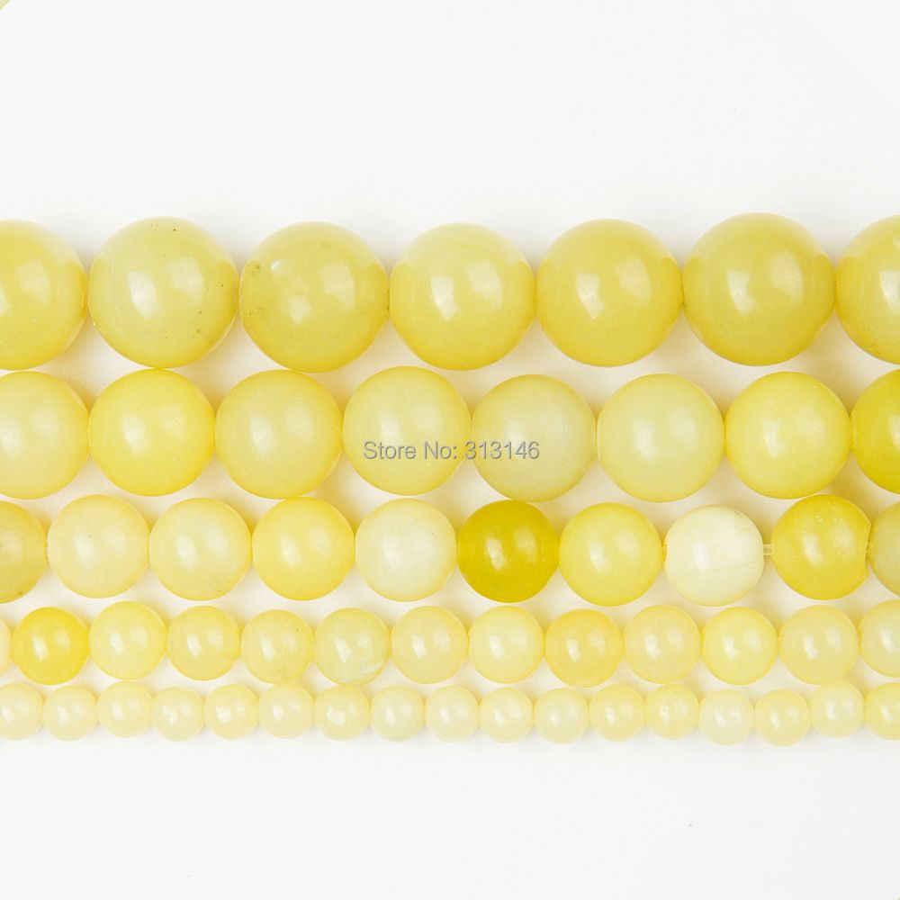 卸売ナチュラルラウンドシトリンクリスタル黄色レモンヒスイの碧玉石ビーズネックレスブレスレットジュエリーメイキングのための 4 6 8 10 12 ミリメートル