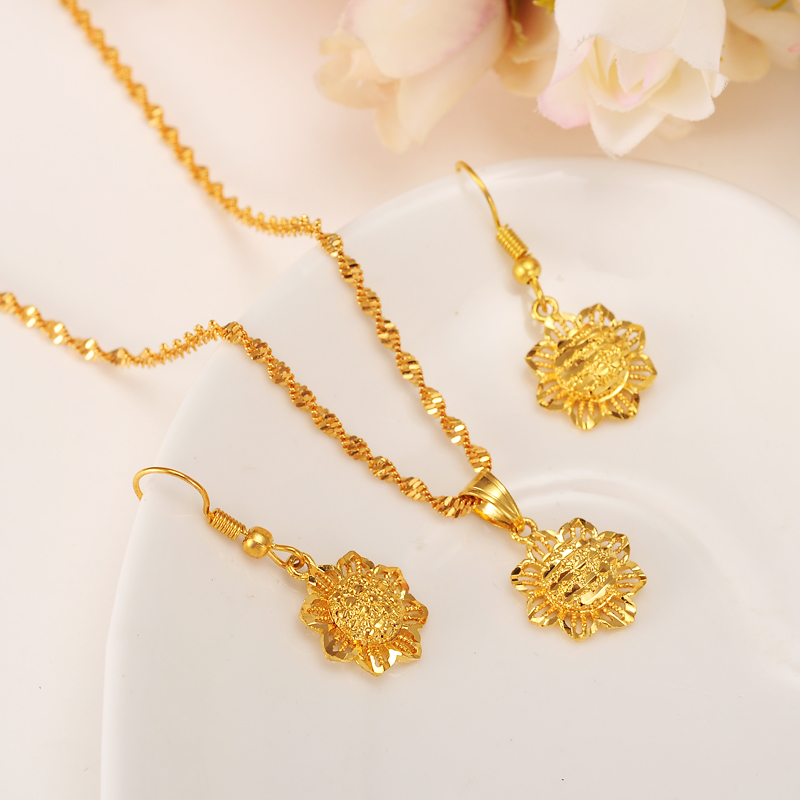 Bangrui Gold Color Ethiopian set Jewelry Pendant Chain Earrings Baby Africa Flower Jewellery Gift For Baby
