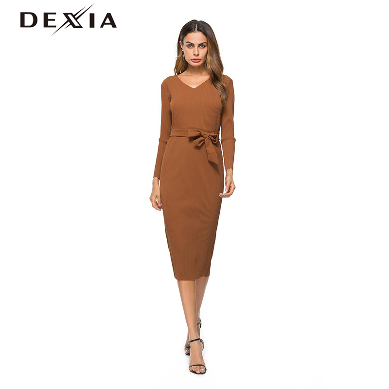 Dexia Womens Casual Knitted Office Dress Winter Bow Belted Elegant Dresses Women V Neck Mid Calf