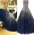 Shingning luxo Frisada de Cristal Long Prom Vestidos Custom Made vestidos de Organza Azul Marinho Sexy Cristal Organza Vestidos de Noite Vestidos de Baile