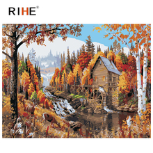RIHE Waterwheel House Diy Painting By Number Fall Oil On Canvas Hand Painted River Cuadros Decoracion Acrylic Paint Art