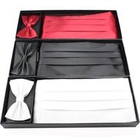 גברים באיכות גבוהה שמלת מחוך + עניבת פרפר + כיכר ממחטת מגבת חתונה גברים Borboleta Bowtie Gravata פרפר בורגונדי קופסא מתנה