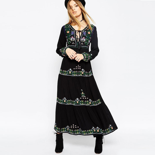 d5df537b72 Black dress floral embroidered boho dress Vintage o-neck tassel long Sleeve  dresses hippie long women dress brand clothing