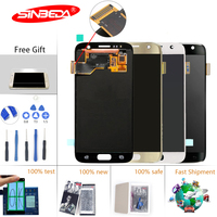 5.1Sinbeda Super AMOLED For SAMSUNG GALAXY S7 G930A G930F SM G930F LCD Display Touch Screen Digitizer with Frame For S7 Screen