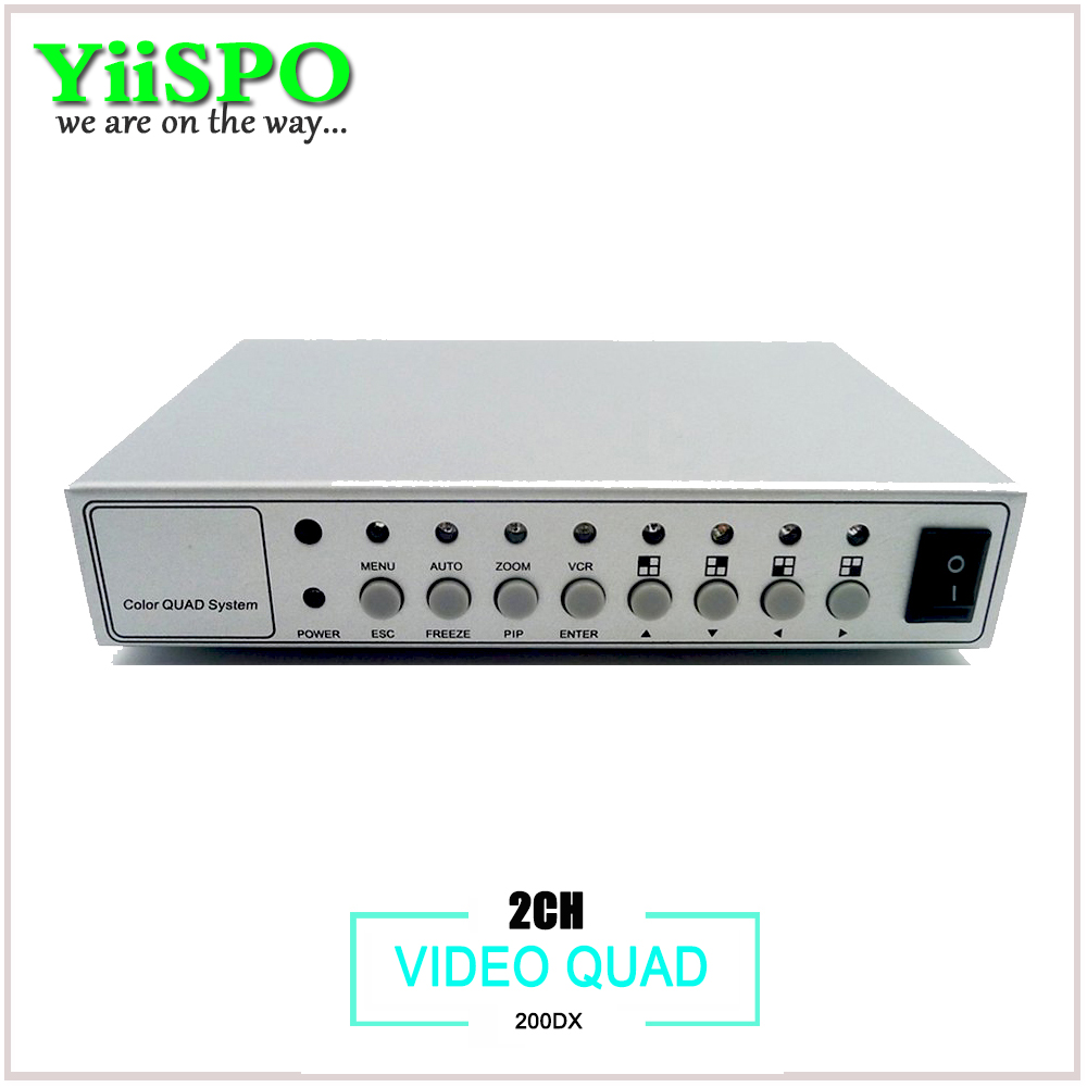 YiiSPO 2ch CCTV Video Quad Good quality 2ch Security Video Splitter With Remote Control directly from factory vga 4ch color cctv security camera video quad processor splitter remote control