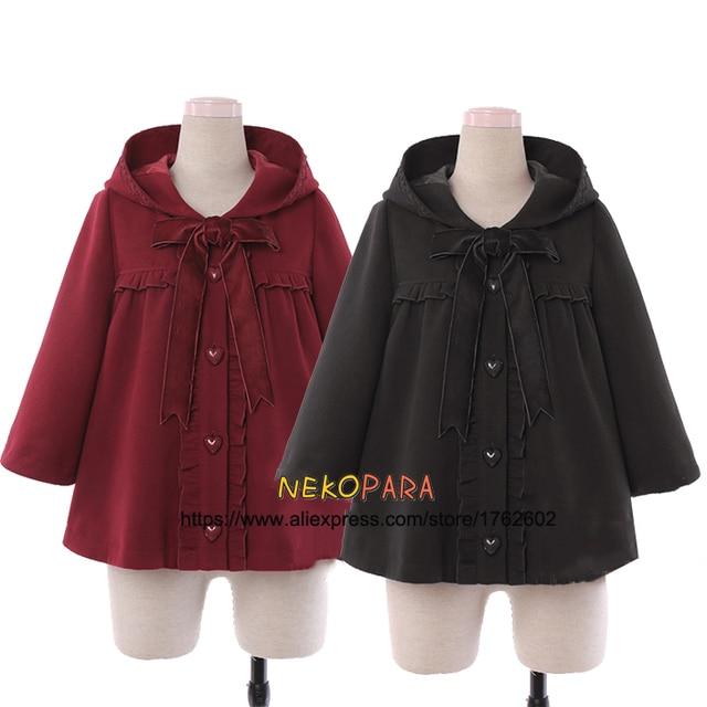 dc7325452a Cute Girls Winter Wool Blend Little Red Hat Cape Cat Ears Hooded Jacket Big  Bow Ruffles Trim Kawaii Lolita Outwear