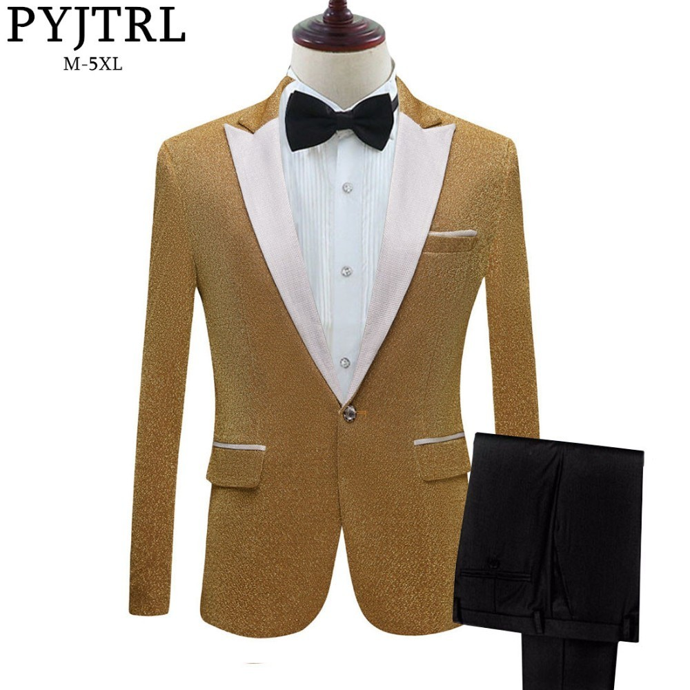 PYJTRL Mens Shiny Purple Gold Red Black Silver Prom Dress Suits With Pants Wedding Groom Costume Homme Latest Coat Pant Designs