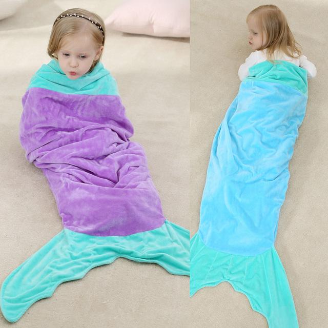 O envio gratuito de 2017 Animal Bonito Menina Sleepwear Inverno Flanela Velo Crianças Sereia Saco de Dormir 100% Qualidade Cobertor Dorminhoco