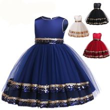 f09232e0c7be3 Enfants fleur fille robes pour dentelle diamant Tutu robe élégante  impression de mariage noël princesse robe de soirée filles vê.