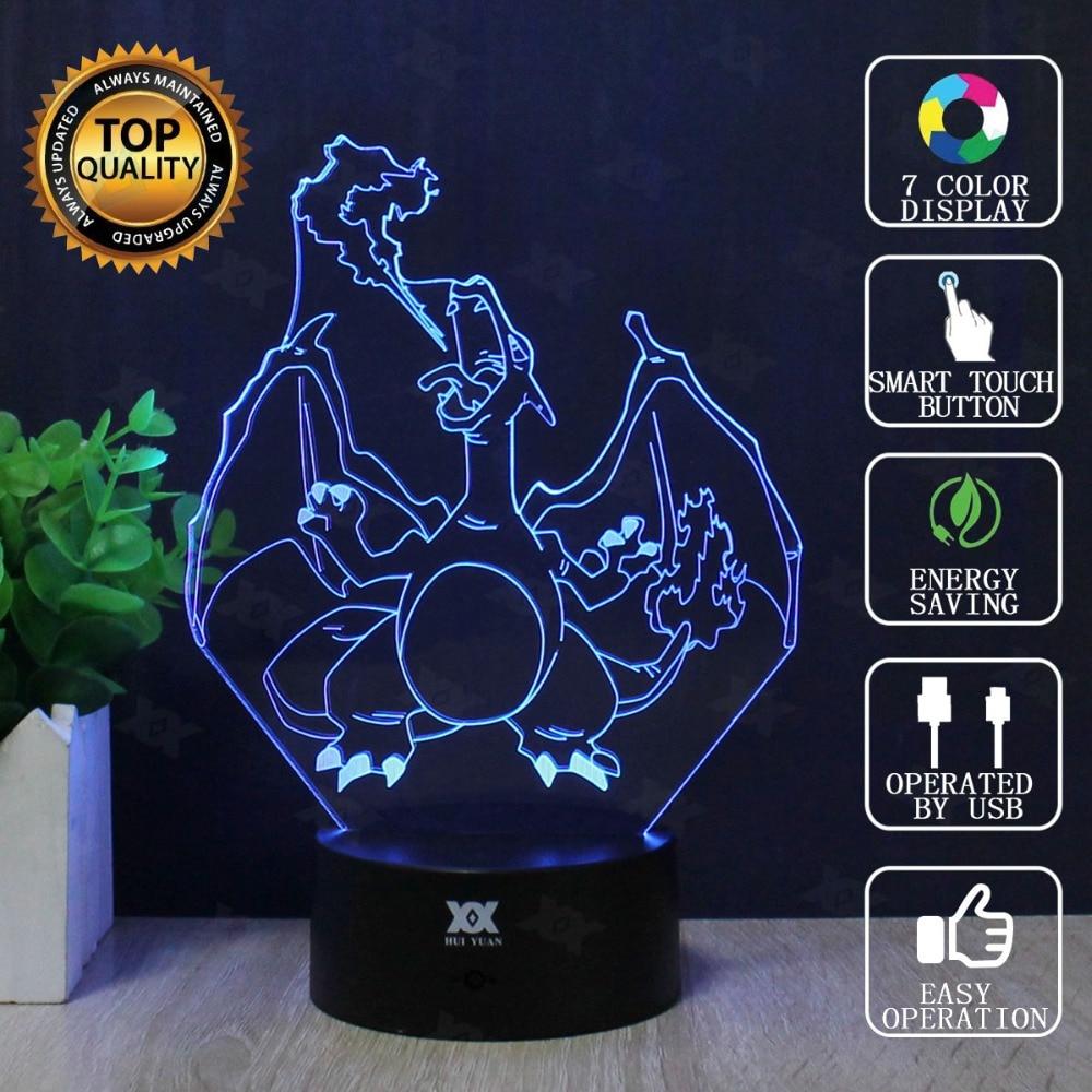 Charizard 3D Lamp Pokemon Go Seven Colors Cartoon LED Decorative Table Lamp USB Novelty Night Lights