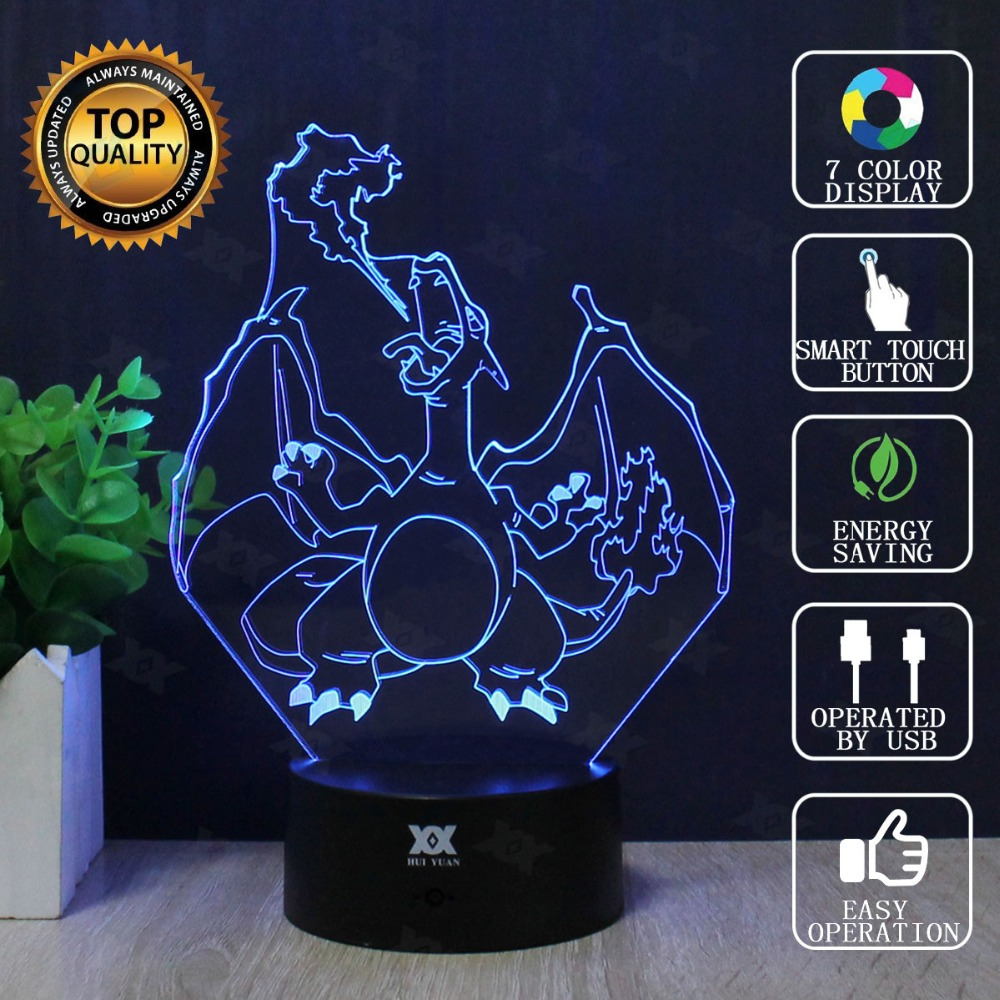 Dracaufeu 3d Lampe Pokemon Go Sept Couleurs Dessin Anime Led