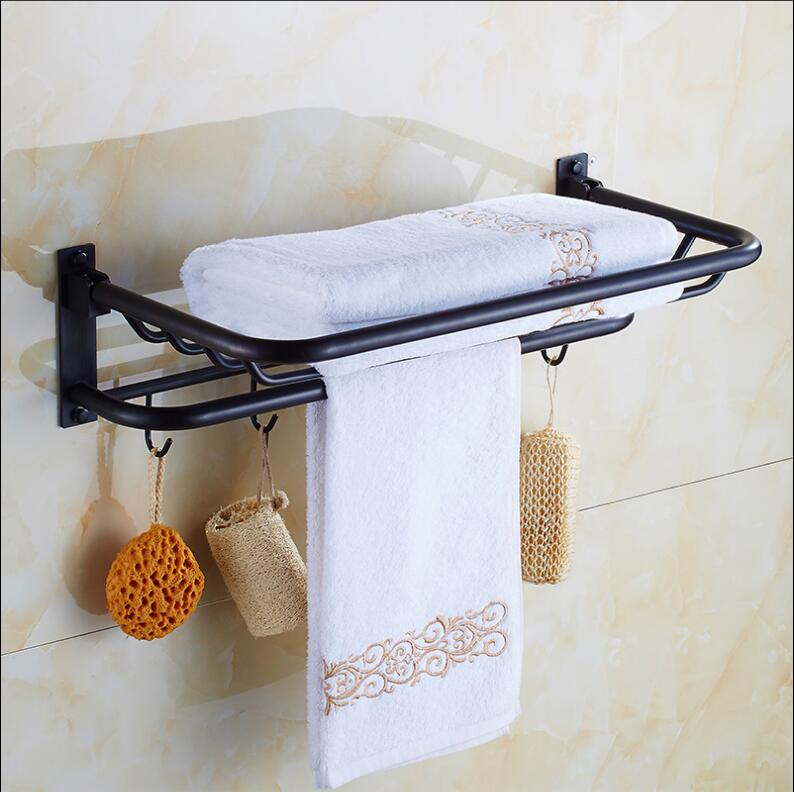 New arrival 60 cm Folding Bathroom Towel Rack Black Oil Brushed Foldable Fixed Bath Towel Holder Brief Bath Shelves Towel Rail antique fixed bath towel holder brass towel rack holder for hotel or home bathroom storage rack black oil brushed towel shelf
