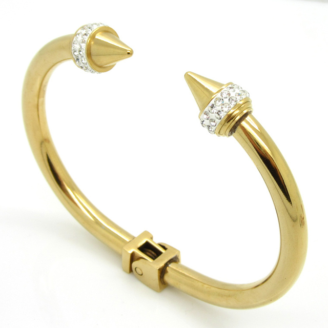 Fashion Punk Personalized Stainless Steel Metal Bangles Bracelets Jewelry Top Quality Women's Crystal Bracelet