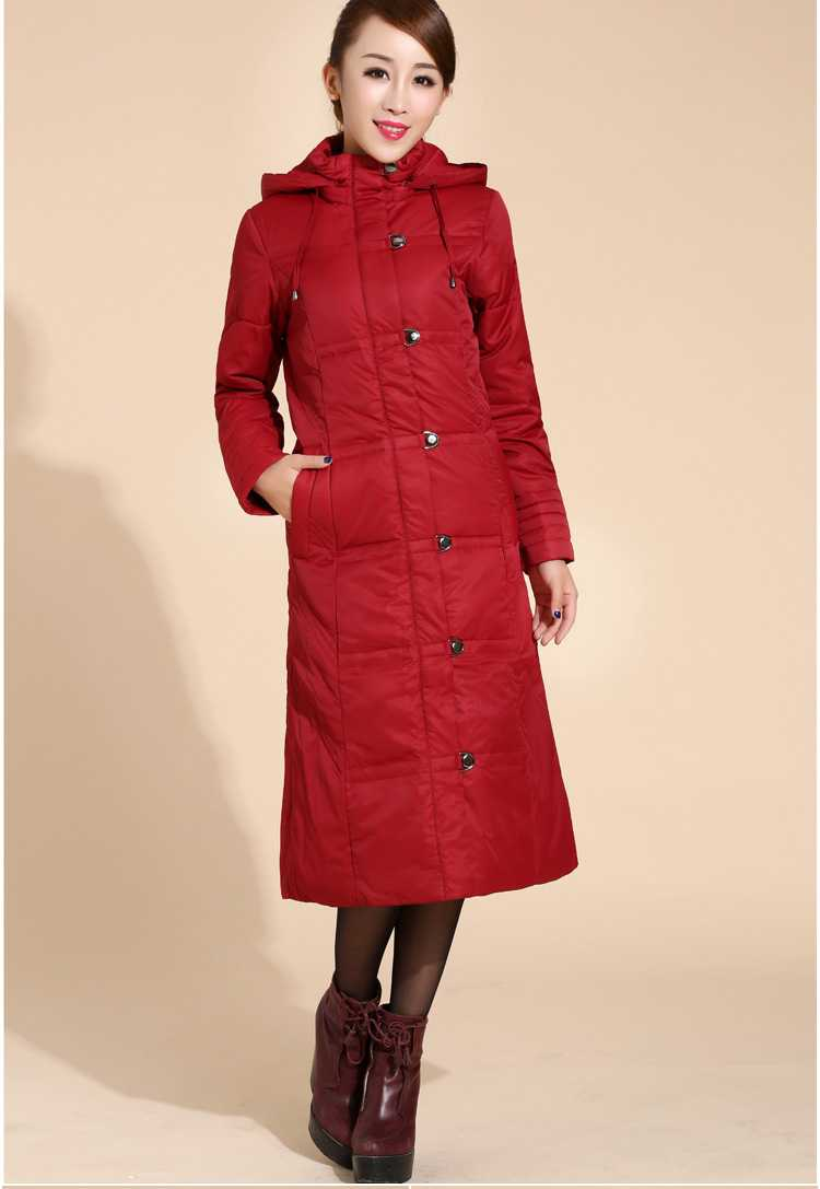 цены на New Arrival Fashion Super-Long Korean Slim Hooded White Duck  Jackets Thicken Windbreak Stand Collar Women  Coat H5265 в интернет-магазинах