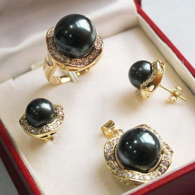 Женщины Подарок слово Любовь настоящее Великолепная Черный Shell Жемчужное Ожерелье Серьги Кольцо Устанавливает стиль Тонкой Благородной реальных Природных (B0322)