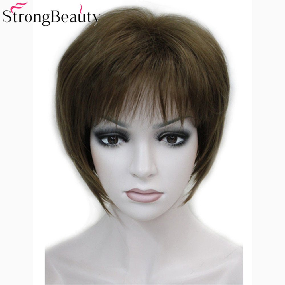 Strong Beauty Short Synthetic Straight Wigs Heat Resistant Capless Wig 7 Color For Women