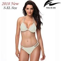 2018 Solid Low Waist Women Bikini Sexy Swim Suit Swimsuit Swimwear Female Bathing Beach Wear S