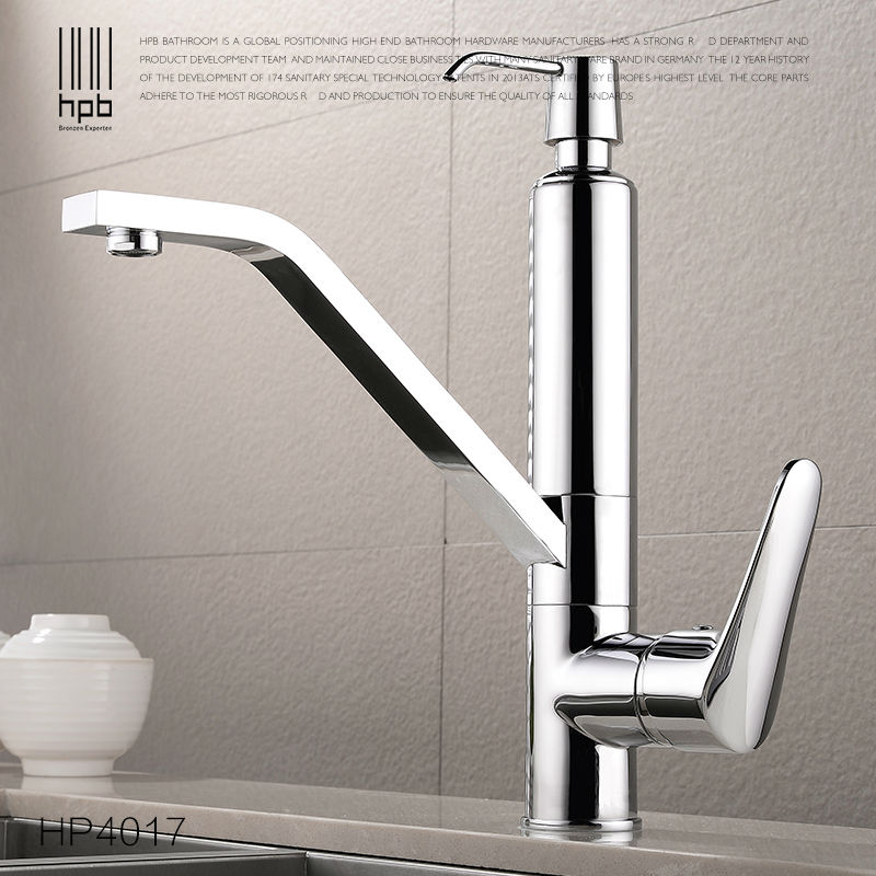 HPB Brass Kitchen Faucet Mixer With Soap Dispenser Sink Tap Deck Mounted Hot and Cold Water