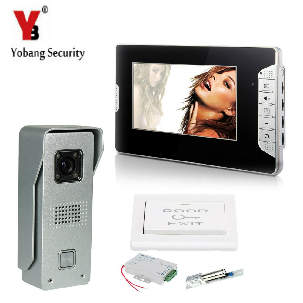 YobangSecurity 7″Inch LCD Video Door Phone Visual Intercom Doorbell 1-camera 1-monitor IR Night Vision With Electronic Door Lock