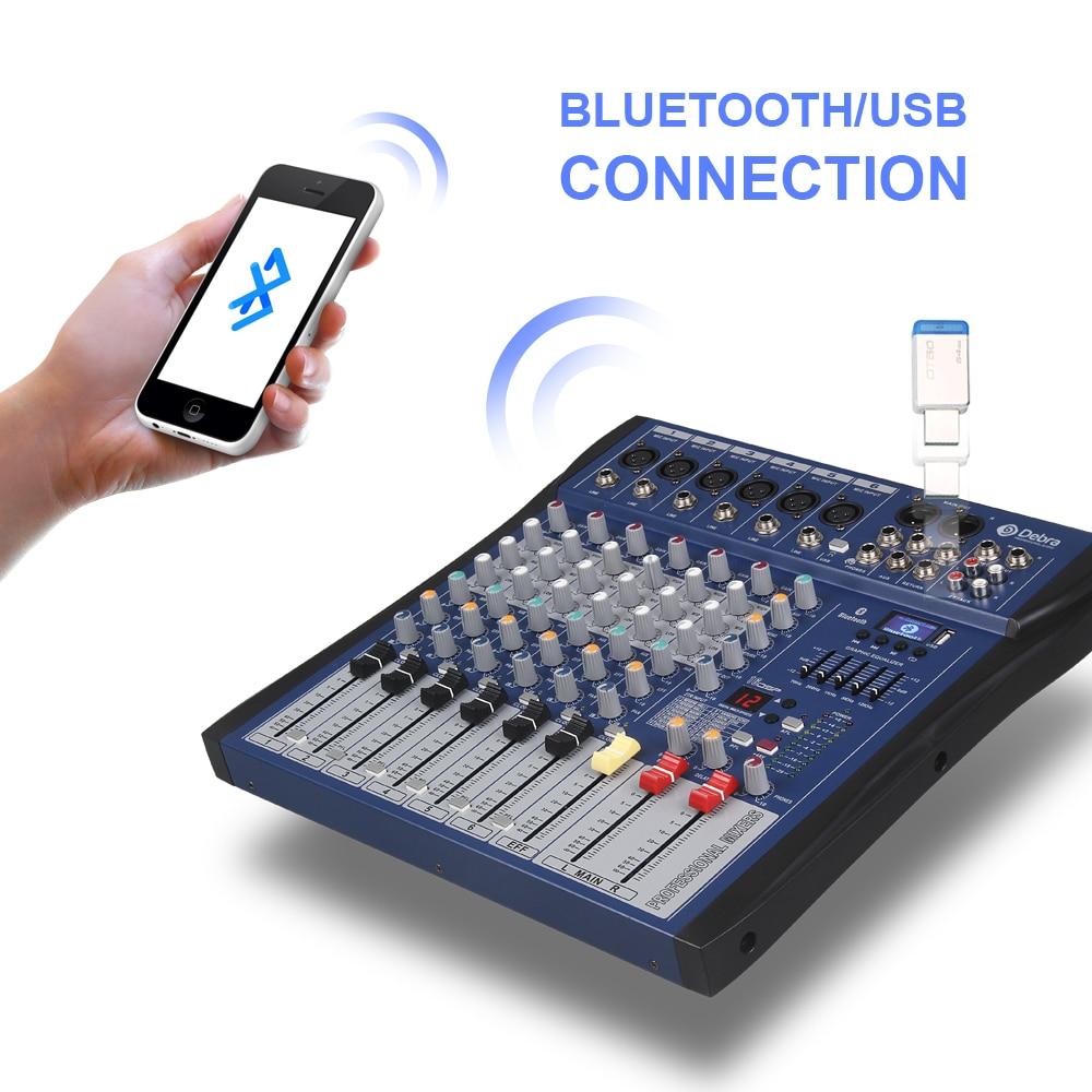 Хороший звук! USB Bluetooth dj контроллер миксер Профессиональный 6 канальный аудио цифровой эффект караоке КТВ Свадебный миксер - 4