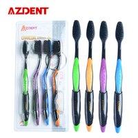 AZDENT Hot 4PCS Double Ultra Soft Toothbrush Bamboo Charcoal Nano Brush Oral Care 625 Nano-antibacterial Toothbrush Black Heads