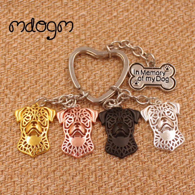 2019 Cute Rottweiler Dog Animal Gold Silver Plated Metal Pendant Keychain For Bag Car Women Men Key Ring Love Jewelry K039