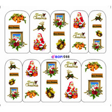 UPRETTEGO NAIL ART WATER DECAL SLIDER NAIL STICKER XMAS CHRISTMAS SANTA CLAUSE BELL SNOW MAN TREE CAP BOP088-095(China)