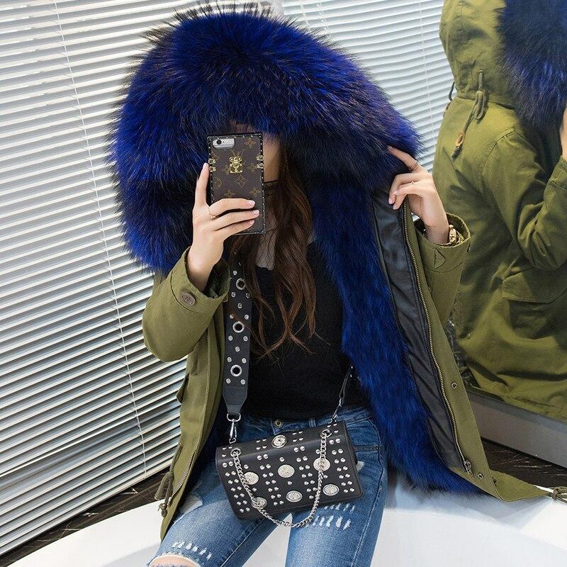 TREND-Setter Women Army Green Raccoon Fur Hooded Coat Parkas Plus size Outwear Long Detachable Winter Jacket Style 3XL Real Fur