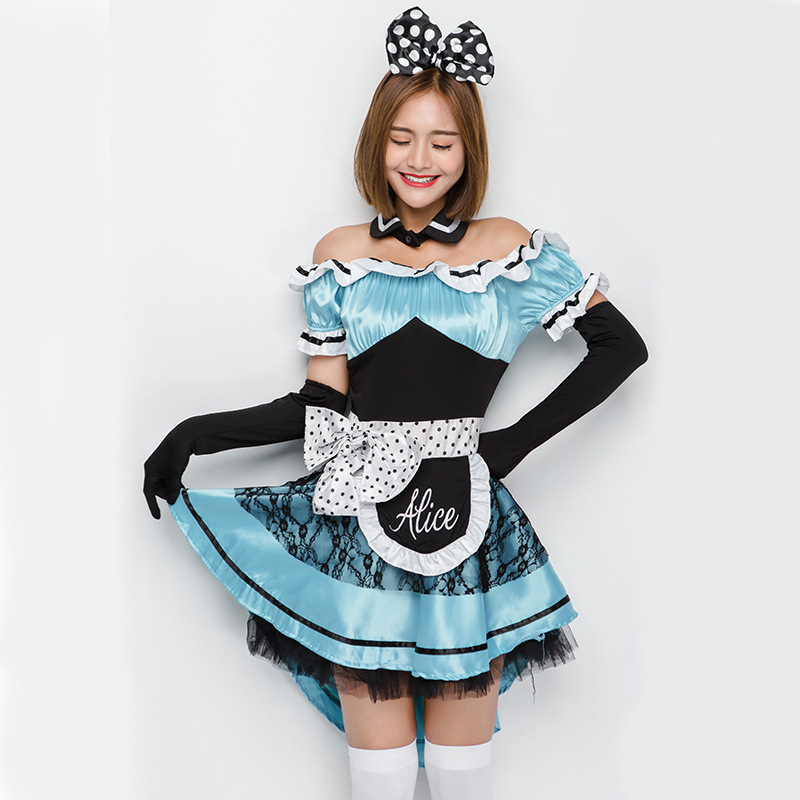 Adult Light blue <font><b>Alice</b></font> <font><b>in</b></font> <font><b>Wonderland</b></font> <font><b>Costume</b></font> Dress Halloween <font><b>Sexy</b></font> Maid <font><b>Costume</b></font> for Women Lady Girl image