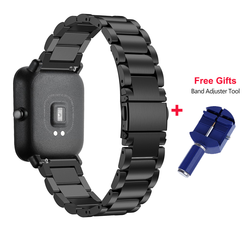 20mm Band For Xiaomi Huami Amazfit Youth Smart Watch Metal Stainless Steel Bracelet Replacement Belt For Amazfit Bip Wrist Band
