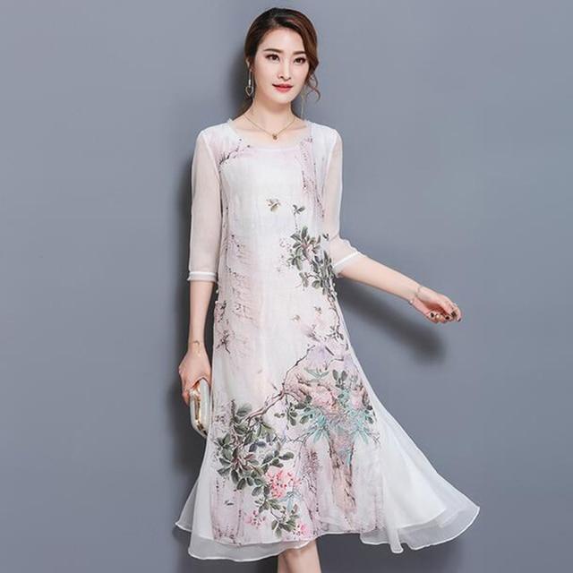 a10c38c5c79 Frauen Gedruckt Lose Sommer Langes Kleid Frühling Chinesischen Stil Seide  Retro Kleider Plus Größe Frauen Kleidung