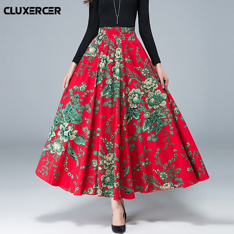 Maxi Long Skirt Women Long Skirt Chic Colorblock Print Maxi Skirts Full length High Waist Tie