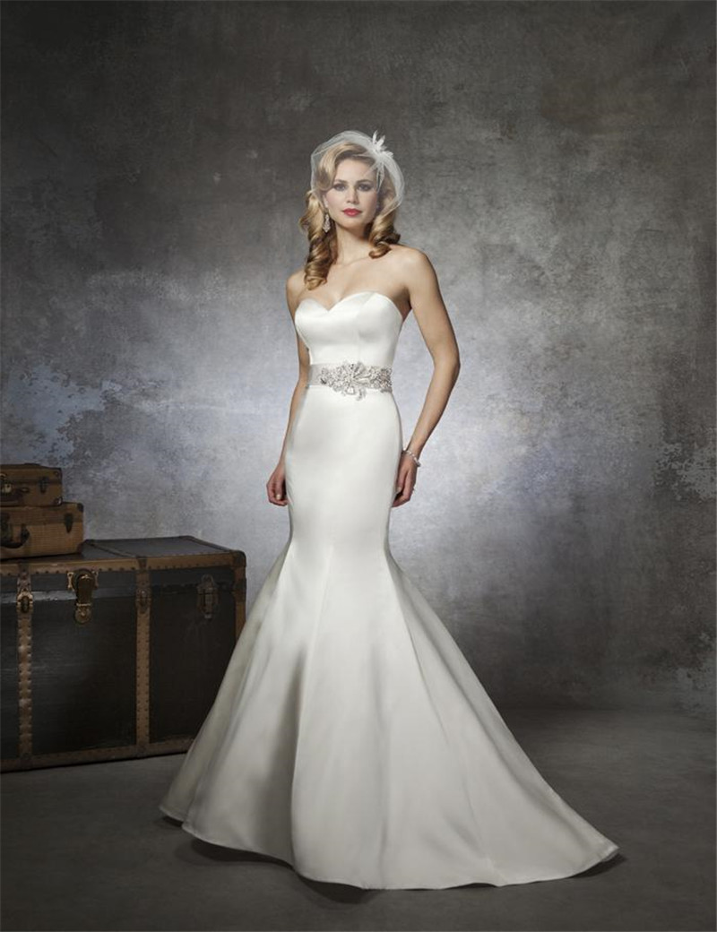 Elegant Simple Wedding Gown Sweetheart Low Back Button Beaded Sash ...