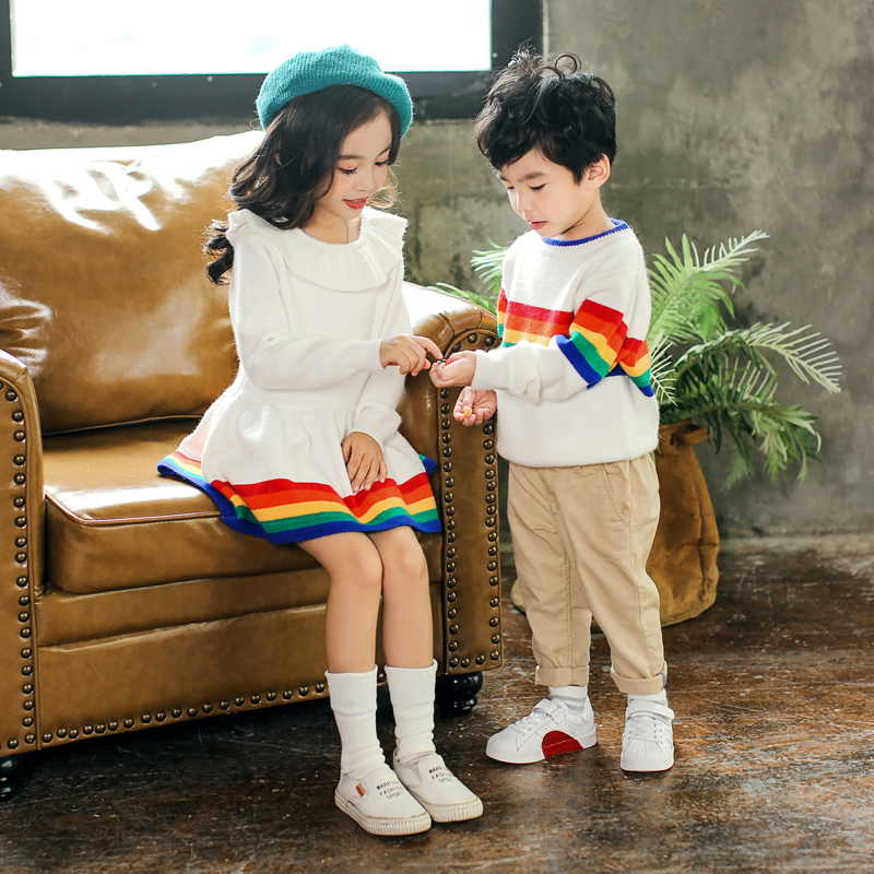 08993803f8 Baby Girls Knit Rainbow Sweater Dresses Autumn Little Boys Woolen Pullover  Sweater Brother Sisters Family Look Christmas Clothes