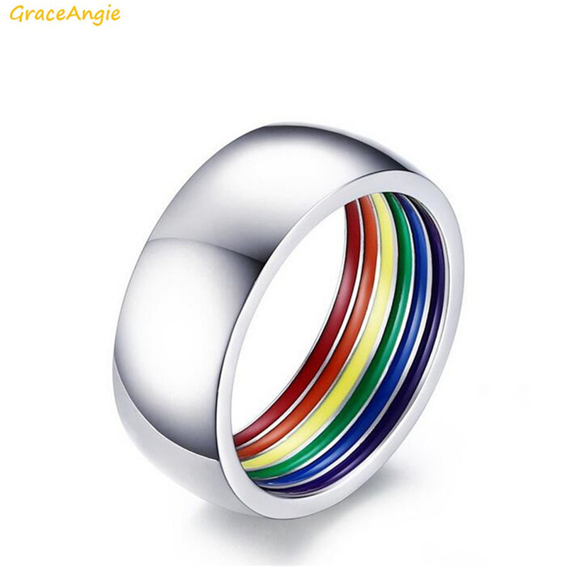 Stainless Steel Polish Ring Colorful Rainbow LGBT Statement Men Rings Present for Gay Lesbian Friend Gift Wedding Drop Shipping image