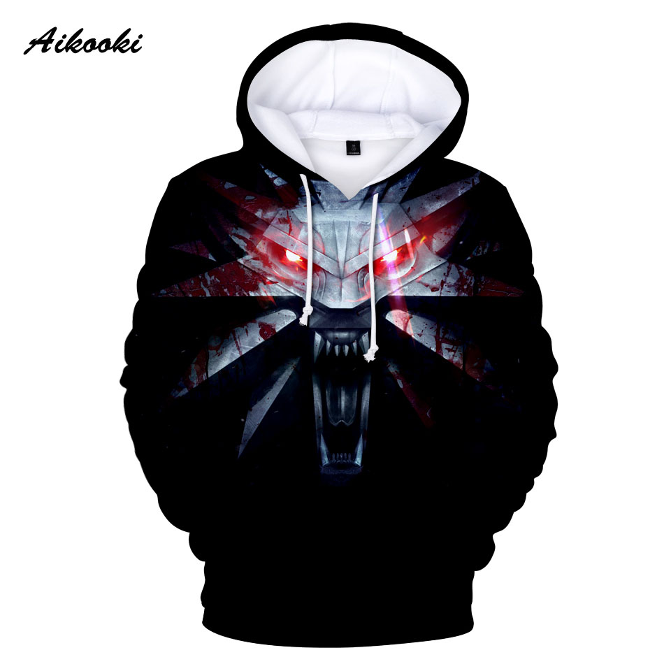 Aikooki The Witche 3D Hoodies Men/Women Sweatshirts Hoody 3D Print Black Design Hooded 2018 Boys/Girls Cotton Polluver Thin Tops