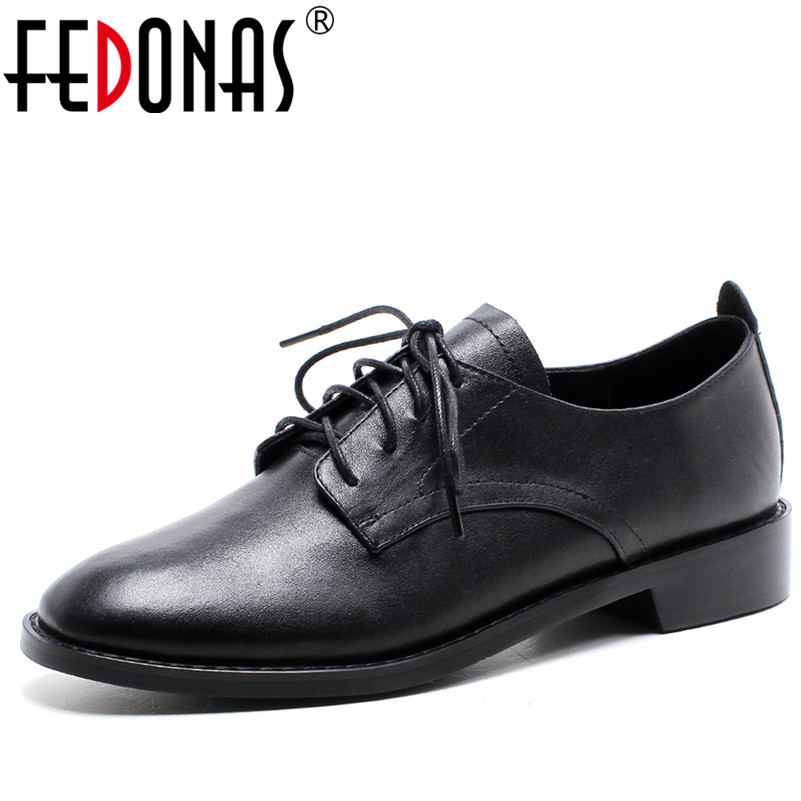 FEDONAS Genuine Leather Oxford Shoes Women Flats Fashion Women Shoes Casual Moccasins Loafers Ladies Shoes Woman Lace-up Shoes lovexss casual oxford shoes fashion metal decoration shallow shoes black purple genuine leather flats woman casual oxford shoes