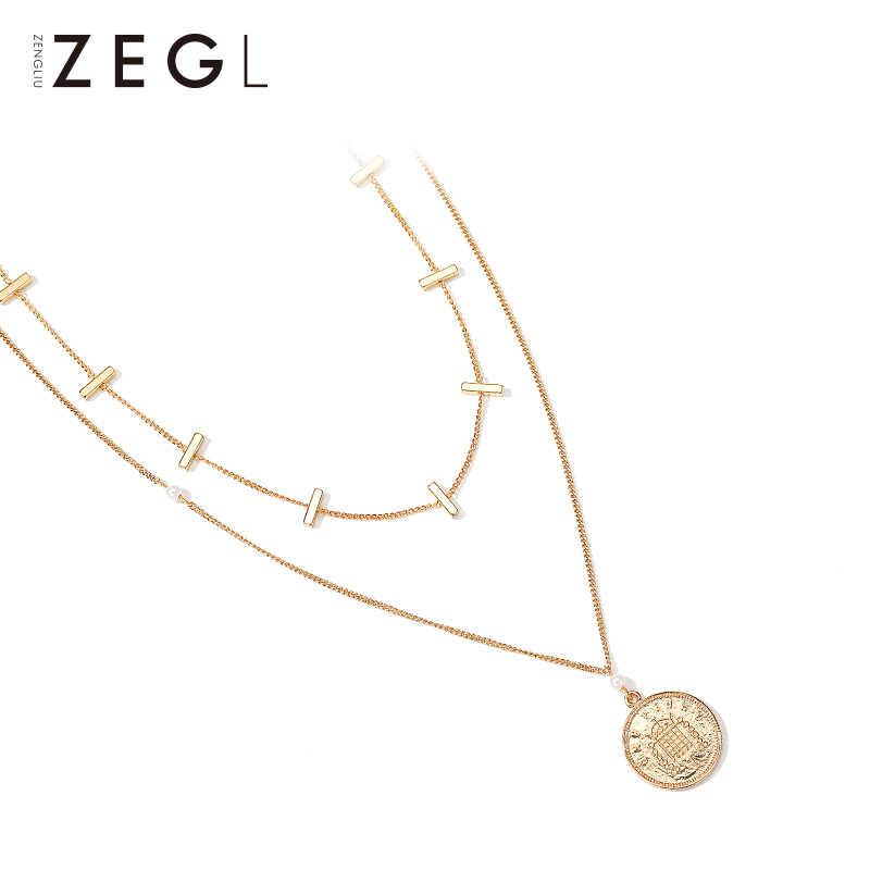 ZEGL 二層ラウンド girls ネックレスヨーロッパとアメリカの鎖骨チェーン人格コインペンダントロング初期ネックレス